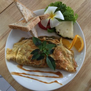 Omellete stuffed with eggplant